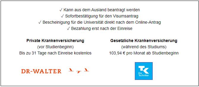 Ausländische Studenten in Deutschland können jetzt von einer einmonatigen kostenlosen Reisekrankenversicherung profitieren